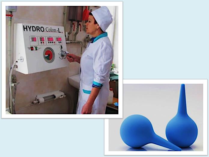 Два метода очищения толстой кишки, предлагаемые Пегано, – гидроколонотерапия и клизма