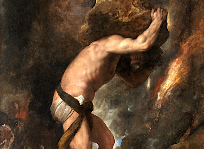 Сизиф несет в гору камень
