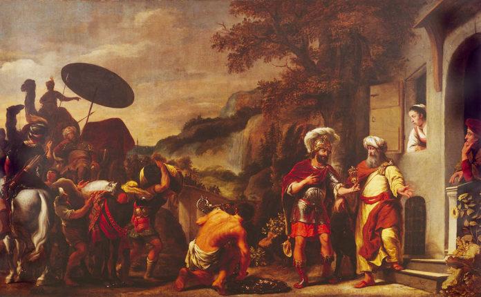 Нееман подносит дары Елисею.