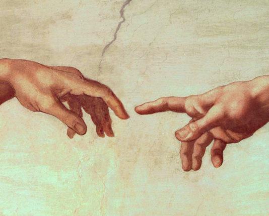 """Сотворение Адама"", фрагмент. Микеланджело"